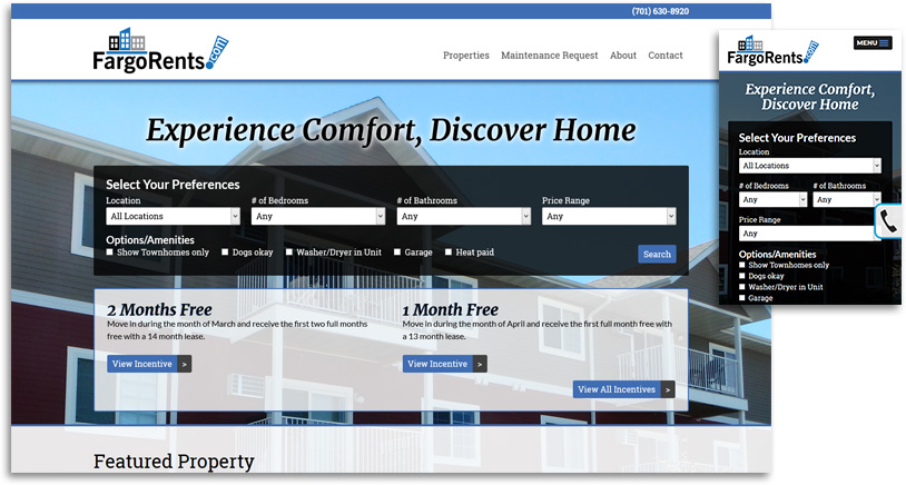 Fargo Rents site design