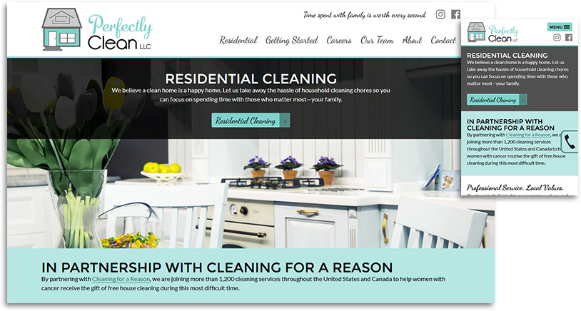 Perfectly Clean, LLC site design